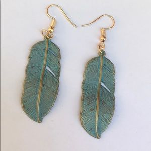 New! Green + Gold Feather Earrings